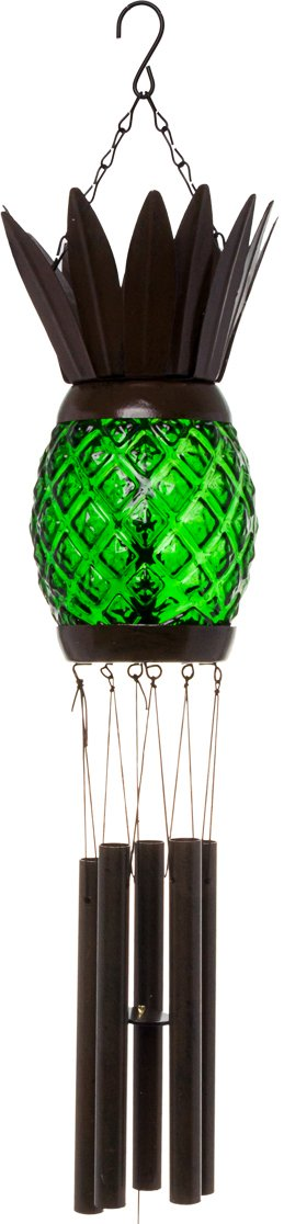 GreenLighting Solar Pineapple Wind Chime Light - Decorative Windbell Lamp for Patio, Garden by (Green)