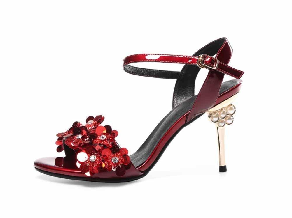 SHINIK Frauen Open-Toe Sandalen 2018 Neue Pailletten verziert hohlen High-Heel Fashion Knouml;chelriemen Pumpen  43|Rot