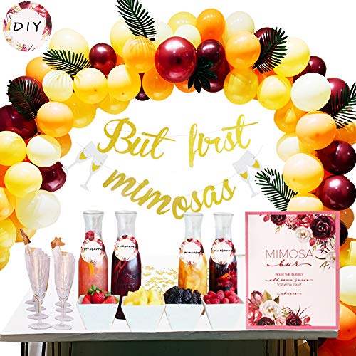 Bachelorette Party Decorations, Mimosa Bar Party Decoaration Kit with But First Mimosa Banner,Floral Mimosa Bar Sign,Juice Label Tags with Strings,Paper Confetti,10''Latex Balloons for Your Birdal Shower,Engagement,Coral Birthday Decorations