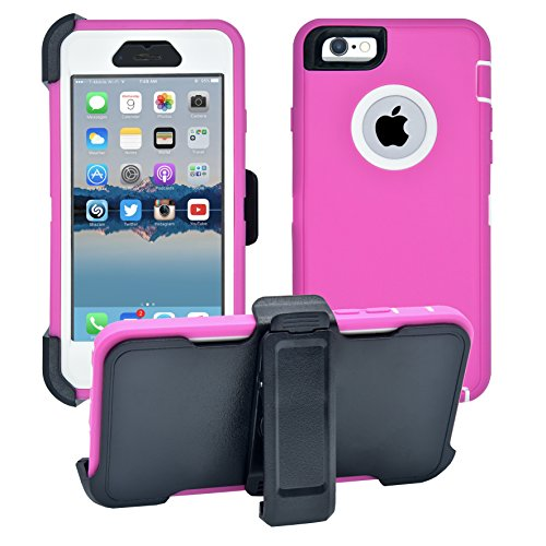 iPhone 6 / 6S Cover | 2-in-1 Screen Protector & Holster Case | Full Body Military Grade Edge-to-Edge Protection with carrying belt clip | Drop Proof Shockproof Dustproof | Pink / White