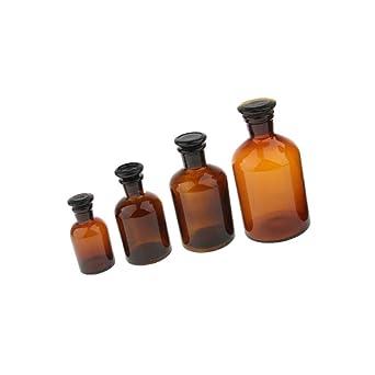 4 botellas de vidrio ámbar con tapas recargables para reactivos de ...