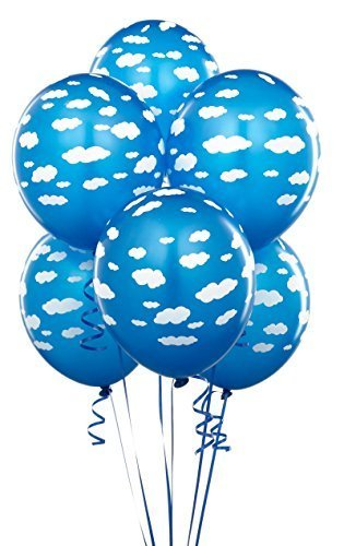 Two Story Wing - Mid Blue with Clouds Matte Balloons (6)