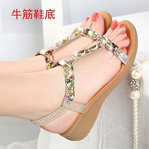 Sandalias de verano femenina fondo blando con damas sandalias de playa Oro