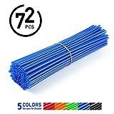 72Pcs Spoke Skins,Motorcycle Street Bike Wheel Spoke Wraps Skins Coat Trim Cover Pipe ( Color : Blue )