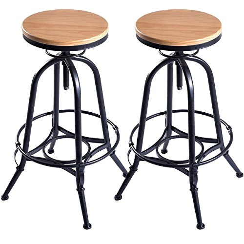 Set of 2 Pair Of Drafting Vintage Industrial Style Wood Metal Backless Bar Stools Counter Stools Adjustable Natural Oak Finish Seat Furniture Industrial Drafting Stool