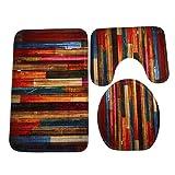 wood grain car mats - SUKEQ 3 Piece Bath Mats, Colorful Wood Grain Bathroom Carpet Rug Non Slip Bathroom Mat Set