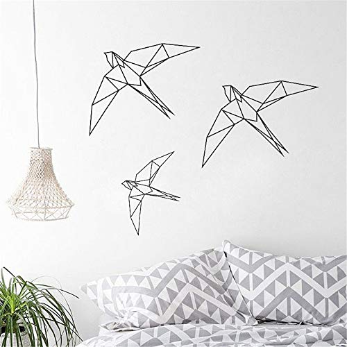 Lettering Words Wall Mural DIY Removable Sticker Decoration Origami Birds Geometry Birds Flying Beautiful Animal Cute Nature Living Room Decal for Nursery -