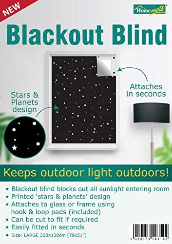 200cm x 130cm fitted in seconds Hook /& Loops attachment Homemate/® Blackout Blind