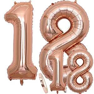 Globos Número 18 Cumpleaños XXL de oro rosa - Globo de lámina gigante en 2 tamaños 40