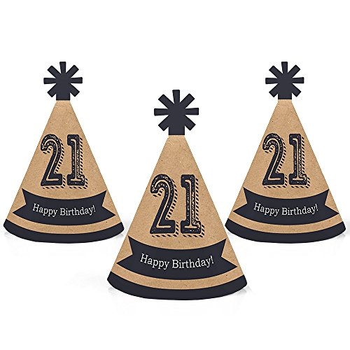 21st Birthday Hats (Finally 21 - Mini Cone 21st Birthday Party Hats - Small Little Party Hats - Set of)