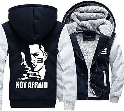 メンズフーディーフルジッパープリントAFRAIDではありませんベルベットパッド入りフード付きセーターコートフリースフーディー、冬に適しています