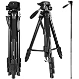 Crazefoto 70 Inches Professional Digital SLR Camera Aluminum Tripod Monopod Flexible Head for SLR DSLR Canon Nikon Sony DV Video with Carry Bag