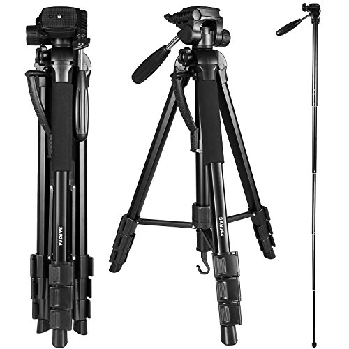 Crazefoto 70 Inches Professional Digital SLR Camera Aluminum Tripod Monopod Flexible Head for SLR DSLR Canon Nikon Sony DV Video with Carry Bag by Crazefoto