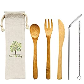 Natural bamboo to go cutlery set- washable reusable utensils, 7. 5 inch bamboo spoon fork knife with metal straw, cleaning brush carry pouch, eco-friendly travel flatware kit 1 natural bamboo travel cutlery set - 7. 5 inch reusable wooden bamboo utensils, fork, spoon, knife & 8. 5 inch bent stainless steel straw with free straw cleaner in slim travel pouch, good choice for outdoor and home activeties. Like camping, party, school and work. Eco-friendly flatware set - made by 100% natural bamboo material, surface treatment with food grade oil, bpa free and fda aprroved, absolutely no harm to the health. They are diswasher safe, easy to clean. Pls wash the kit before use them and stored in a dry place no more plastic - bamboo is a fast-growing, all-natural grass that is just as durable as wood. They are good choice for replace the plastic flatware. As we all know, there is so many plastic goods used in our daily life, make so many trouble to the ocean and mainland environment. Save our planet, have a zero waste lifestyle