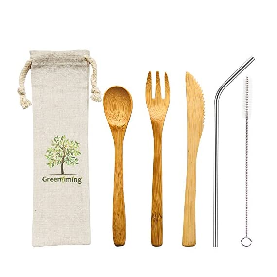 Natural Bamboo To Go Cutlery Set- Washable Reusable Utensils, 7.5 inch bamboo spoon fork knife with Metal Straw, Cleaning Brush Carry Pouch, Eco-Friendly Travel Flatware Kit 1 Natural bamboo travel cutlery set - 7.5 inch reusable wooden bamboo utensils, fork, spoon, knife & 8.5 inch bent stainless steel straw with free straw cleaner in slim travel pouch, Good choice for outdoor and home activeties. like camping, party, school and work. Eco-Friendly Flatware Set - Made by 100% natural bamboo material, Surface treatment with food grade oil, BPA free and FDA aprroved, absolutely no harm to the health. They are diswasher safe, easy to clean. Pls wash the kit before use them and stored in a dry place No more Plastic - Bamboo is a fast-growing, all-natural grass that is just as durable as wood. They are good choice for replace the plastic flatware. As we all know, there is so many plastic goods used in our daily life, make so many trouble to the ocean and mainland environment. Save Our Planet, Have a Zero Waste Lifestyle