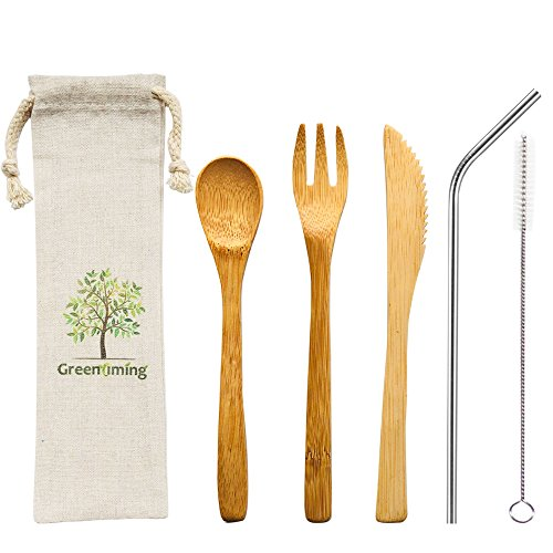 - Natural Bamboo Cutlery - Washable Reusbale Utensils Set, 7.5 inch bamboo fork knife spoon with Bent Metal Straw with Cleaning Brush and straw case, Dishwasher Safe Eco-friendly set with pouch