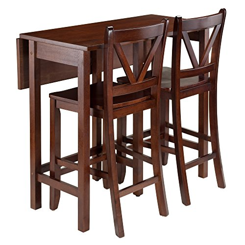 - Winsome 94355 Lynnwood Collection 3 Piece Drop Leaf Table with 2 Counter V-Back Stools, Brown