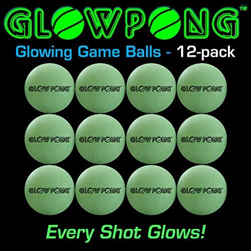 GLOWPONG Glowing Game Balls - 12-Pack - for Indoor Outdoor Nighttime Glow-in-The-Dark Beer Pong Drinking Game Fun and General Purpose Neon Glowing Ping Pong Competition]()