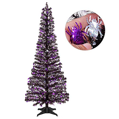 Joy-Leo 5 Foot Shiny Spider Halloween Christmas Tree with Reflective Sequins, Collapsible & Reusable Black Tinsel Christmas Tree for Halloween Decoration with Plastic Stand