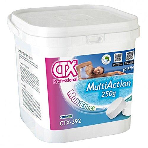 51 4cqtD8vL. SS500 cloro multiaccion de la marca CTX ideal para todo tipo de piscinas. Cloro multiacción en tabletas de 250 g con función desinfectante, alguicida y floculante. Con su sola aplicación en el agua de la piscina se consigue eliminar las bacterias, virus y microorganismos en general