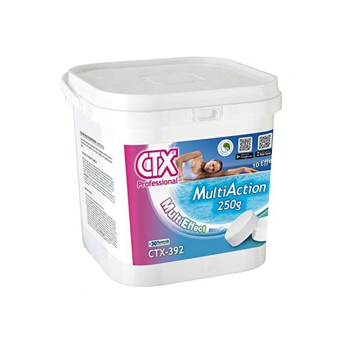 51 4cqtD8vL cloro multiaccion de la marca CTX ideal para todo tipo de piscinas. Cloro multiacción en tabletas de 250 g con función desinfectante, alguicida y floculante. Con su sola aplicación en el agua de la piscina se consigue eliminar las bacterias, virus y microorganismos en general