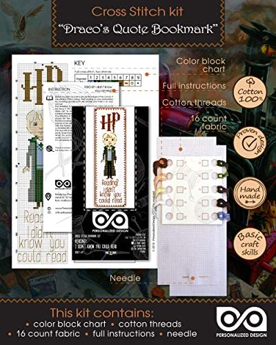 Cross Stitch Bookmark Kit with Dracos Quote Reading I Didnt Know You Could Read