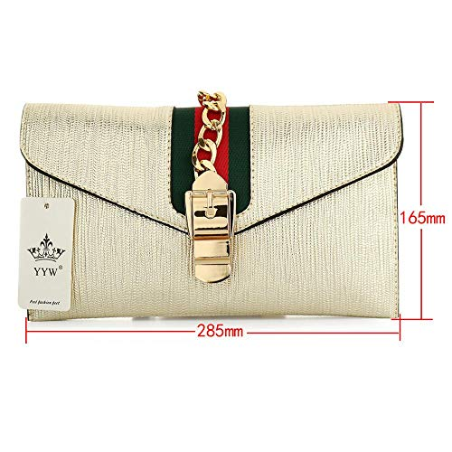 Envelope Bag Clutch Purse Women Gold Adjustable Crossbody Purse Strap Ladies Designer White Wallet Evening with Clutch for r8qwYr