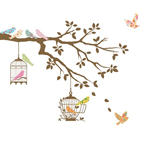 Decowall DW-1510BR Birds on Tree Branch with Bird Cages Kids Wall Decals Wall Stickers Peel and Stick Removable Wall Stickers for Kids Nursery Bedroom Living Room (Brown)