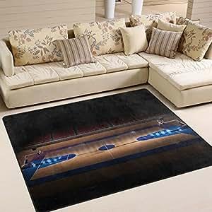 Alfombra de baloncesto LUPINZ®, alfombra de área NBA, alfombra de entrada, alfombra de puerta, alfombrilla para el suelo, zapatos, rascador, decoración del hogar, 80 x 58 pulgadas, antideslizante, lavable, resistente al desgaste, 1, 63 x 48 inch