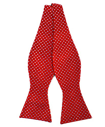 Red Freestyle Bow Tie - Men's Linked Silk Woven Freestyle Bow Tie (Red)