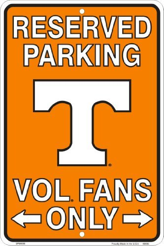 Tennessee Vols Fans Reserved Parking Sign Metal 8 x 12 embossed ()
