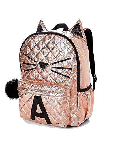 Justice School Backpack Rose Gold Quilted Cat Initial (Letter L)