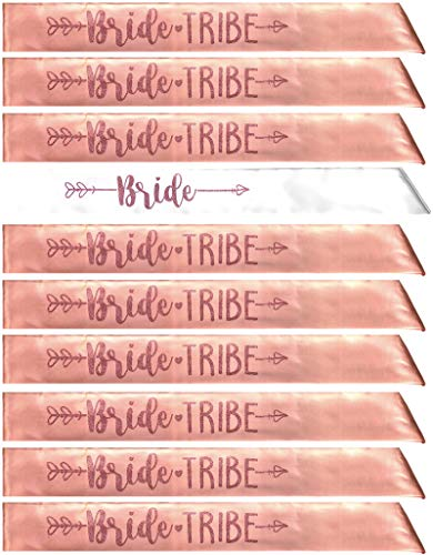 Bride Tribe 7pc or 10pc Satin Sash Set - Sophisticated & Fun Party Favors for Bachelorette Party, Bridal Shower & Wedding Party (Rose Gold, 10pc Set) ()