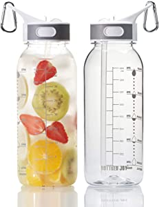 BOTTLED JOY 32oz Water Bottle with Straw, BPA Free Water Bottle Hydration with Motivational Time Marker Reminder Leak-Proof Drinking Water Bottle for Camping Sports Workouts and Outdoor Activity