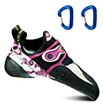 La Sportiva Women's Solution Rock Climbing Shoes White/Pink w/2 Wiregate Carabiners - 39.5