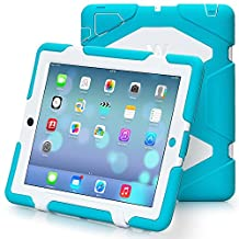 iPad 2, iPad 3, iPad 4 Case, Travellor® [Shockproof] [Heavy Duty] [Military] Extreme Tough & Drop Resistance Soft Silicone Case with Kickstand for Apple iPad 2/3/4. (Whistle + Stylus Pen + Carabiner) (Light Blue-White)