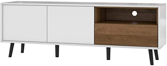 Bestar Alga TV Stand, White Walnut Brown