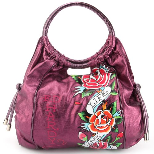 Ed Hardy Jennifer Live, Love, Luck Hobo Bag – Purple, Bags Central