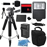 Advanced DSLR Digital Camera Flash Accessory Kit for Olympus E420 E-420 E450 E-450 E600 E-600 E620 E-620 includes (8GB CF Memory Card + Universal Flash + Full Size Tripod + High Capacity BLS-1 BLS1 Replacement Battery with Car/International Charger + More