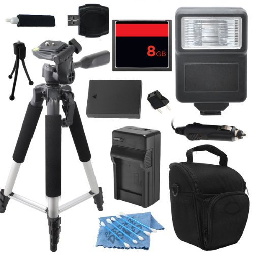 Advanced DSLR Digital Camera Flash Accessory Kit for Nikon D300s D700 includes (8GB CF Memory Card + Universal Flash + Full Size Tripod + High Capacity EN-EL3 EN-EL3e Replacement Battery with Car/International Charger + More) by ECD