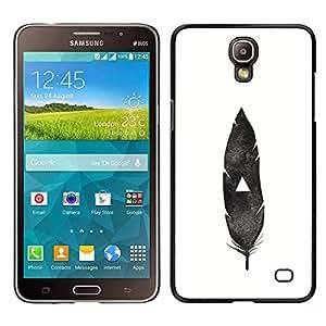 LECELL--Funda protectora / Cubierta / Piel For Samsung Galaxy Mega 2 -- pluma india nativa blanco negro profundo --