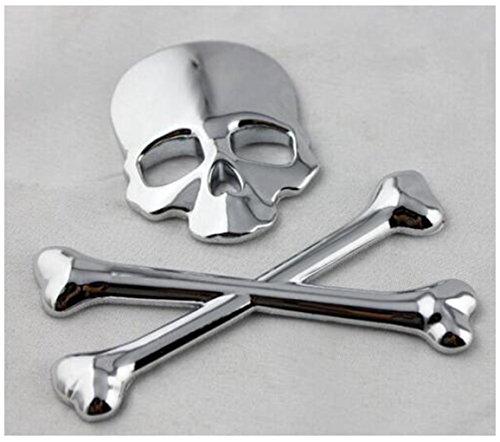 Meiyiu Universal Black Skull Punisher Car Styling Emblem Decal Badge Sticker Silvery ()