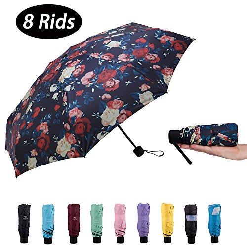 NOOFORMER mini Travel sun&rain Umbrella (6&8 Rids)- Light Compact Parasol 95% UV Protection Men Women Multiple Colors