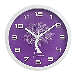 JustNile Silent Modern Creative White Frame Wall Clock - 10-inch Purple Clock Face W/ White Tree