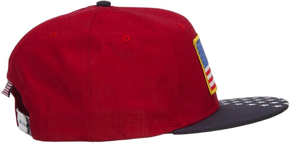 e4Hats.com American Flag Patched Two Tone Snapback Cap