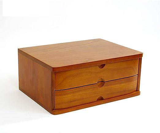 Rack de almacenamiento de escritorio Caja de almacenamiento de madera Caja de almacenamiento de cajones múltiples Escritorio Gabinete de almacenamiento de acabado de múltiples capas de madera multifun: Amazon.es: Hogar