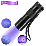UV Flashlight Black Light 12 Ultraviolet LED Flashlight Handheld UV Blacklights - Pet Urine Stain Detector Bed Bugs Remover - Find Dog and Cat Pee on Carpets - Rugs - Any Floor or Wall