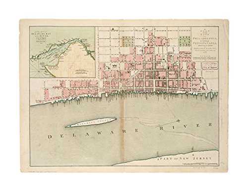 1776 Map Delaware Bay A plan of city of Philadelphia, capital of Pennsylvania, from an actual survey Oriented with north toward upper right.Shows name & location of important buildings & - Capital Name Pennsylvania