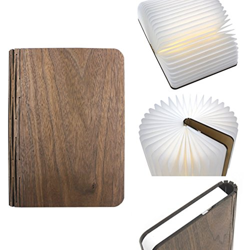 Innovative Portable LED Light,Granvela Greeno Foldable USB Rechargable Book Light (Book-Shaped lamp), Art Deco and Surprising All-Season Gift (4 Colors to Choose)-Walnut by Granvela