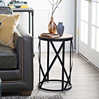 Belham Living Allen Reclaimed Wood Drum Side Table